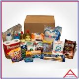 cesta grande de alimentos para doação Santa Cecília